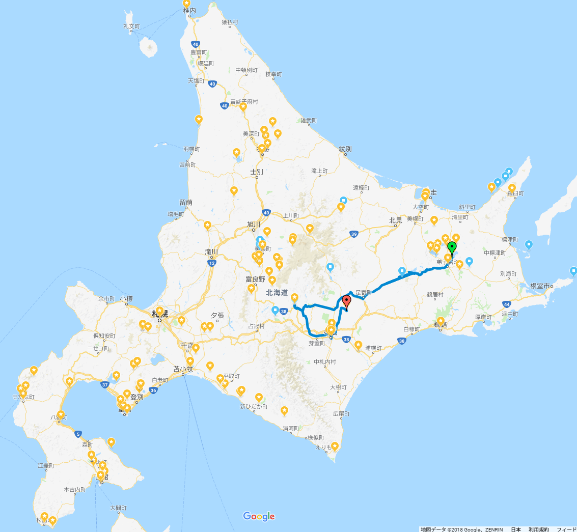 GPS記録20180430_北海道旅行(道北・道東・道南)車中泊の旅