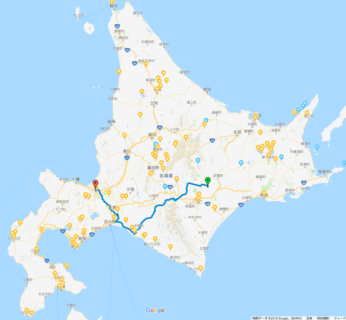 GPS記録20180501_北海道旅行(道北・道東・道南)車中泊の旅