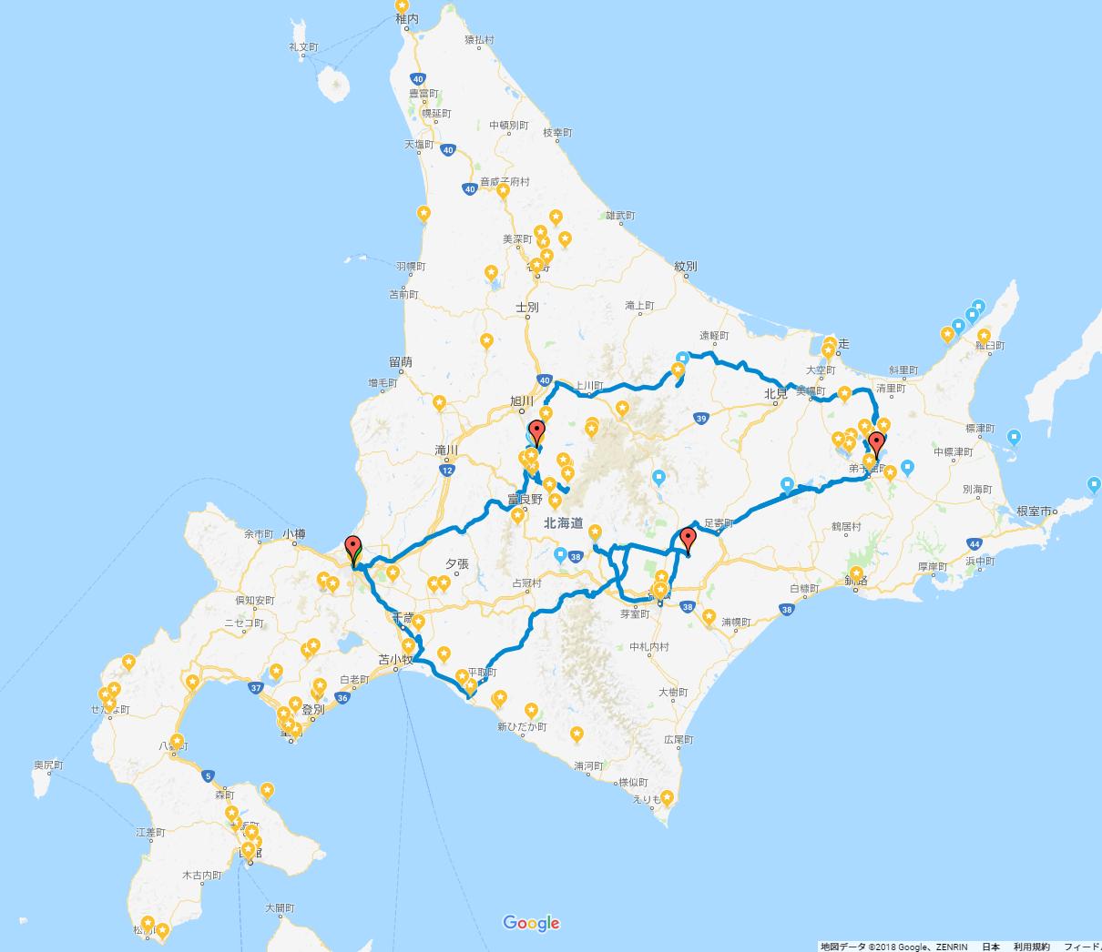 GPS全日記録_北海道旅行(道北・道東・道南)車中泊の旅