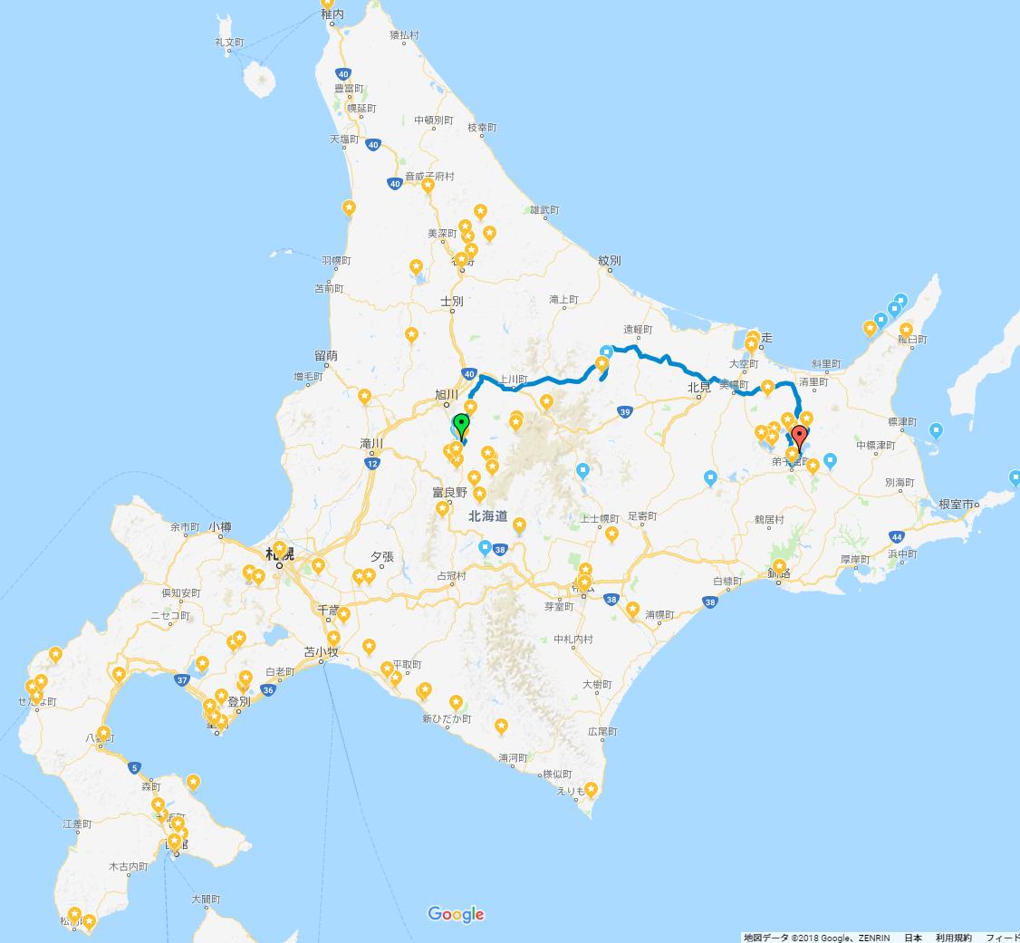 GPS記録20180429_北海道旅行(道北・道東・道南)車中泊の旅